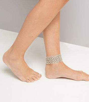 Silver Diamante Anklet New Look