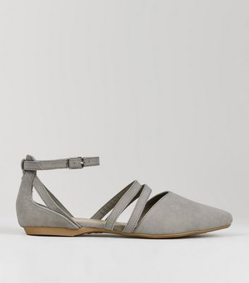 Teens Grey Suedette Ankle Strap Pumps