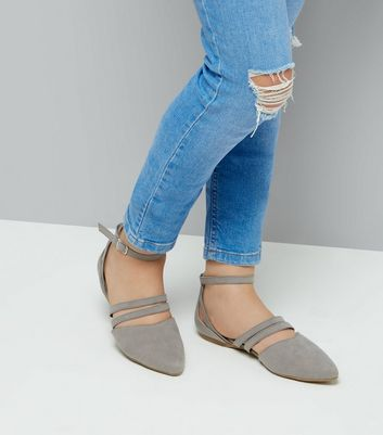 Teens Grey Suedette Ankle Strap Pumps New Look