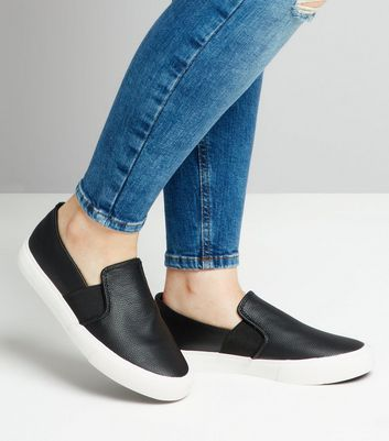 Teens Black Textured Slip On Plimsolls New Look