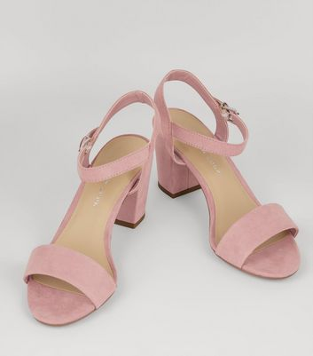 Teens Pink Suedette Block Heeled Sandals New Look