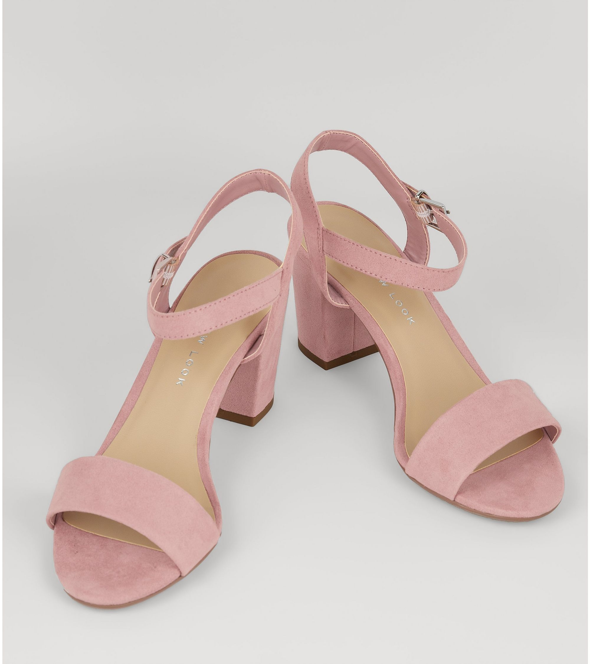 faaa88063d7 New Look Teens Pink Suedette Block Heeled Sandals at £19.99