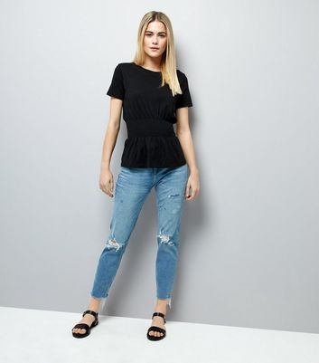 Black Shirred Waist T-Shirt New Look