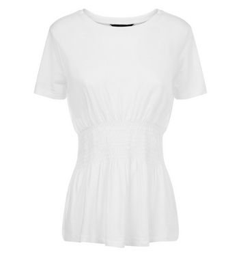 White Shirred T-Shirt New Look