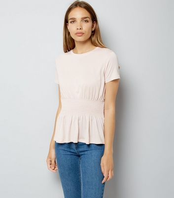 Pink Shirred Waist T-Shirt New Look