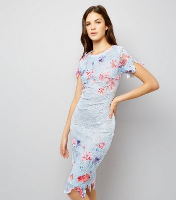 AX Paris Blue Floral Print Lace Midi Dress New Look