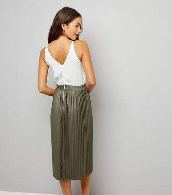 AX Paris Khaki Pleated Skirt Dress New Look