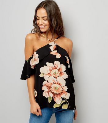 AX Paris Black Floral Print Cold Shoulder Top New Look