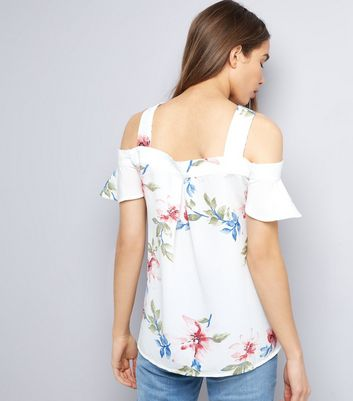 AX Paris White Floral Print Cold Shoulder Top New Look