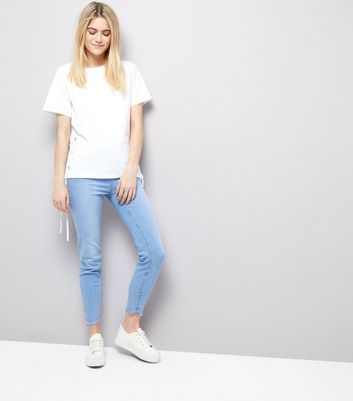 White Lace Up Side T-Shirt New Look