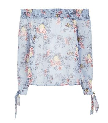 Blue Floral Print Shirred Bardot Neck Top New Look