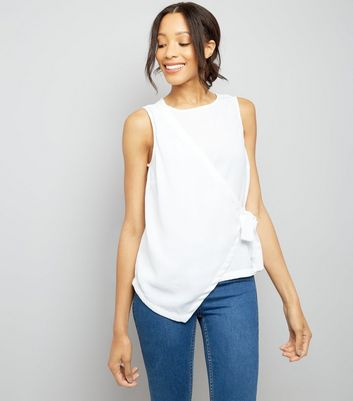 White Wrap Front Sleeveless Top New Look