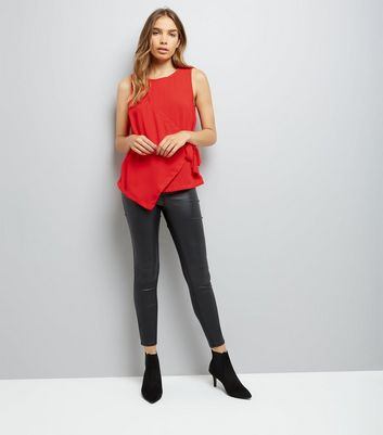 Red Wrap Front Sleeveless Top New Look