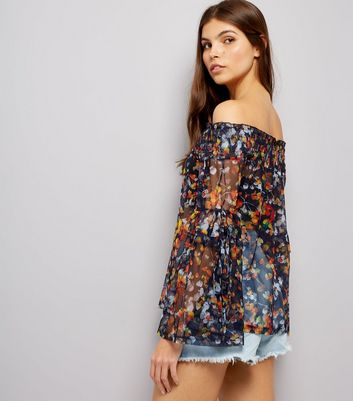 Navy Floral Print Bardot Top New Look