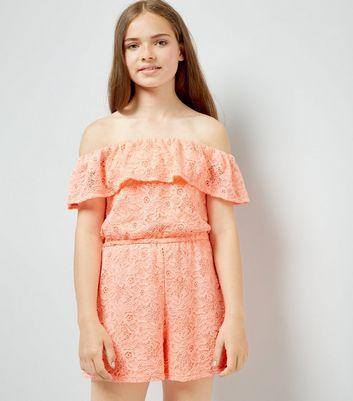 Teens Orange Lace Bardot Neck Playsuit New Look