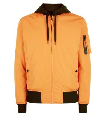 Orange Contrast Hood Bomber Jacket New Look