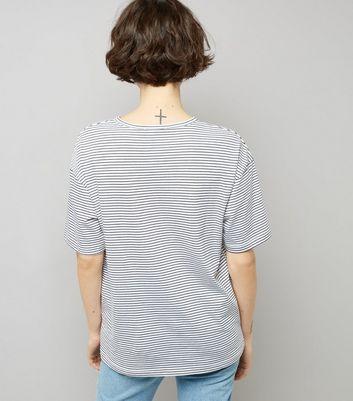 Black Stripe Choker Neck Girlfriend T-Shirt New Look