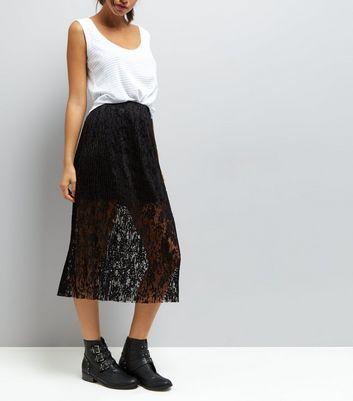 Black Pleated Lace Half Lined Midi Skirt