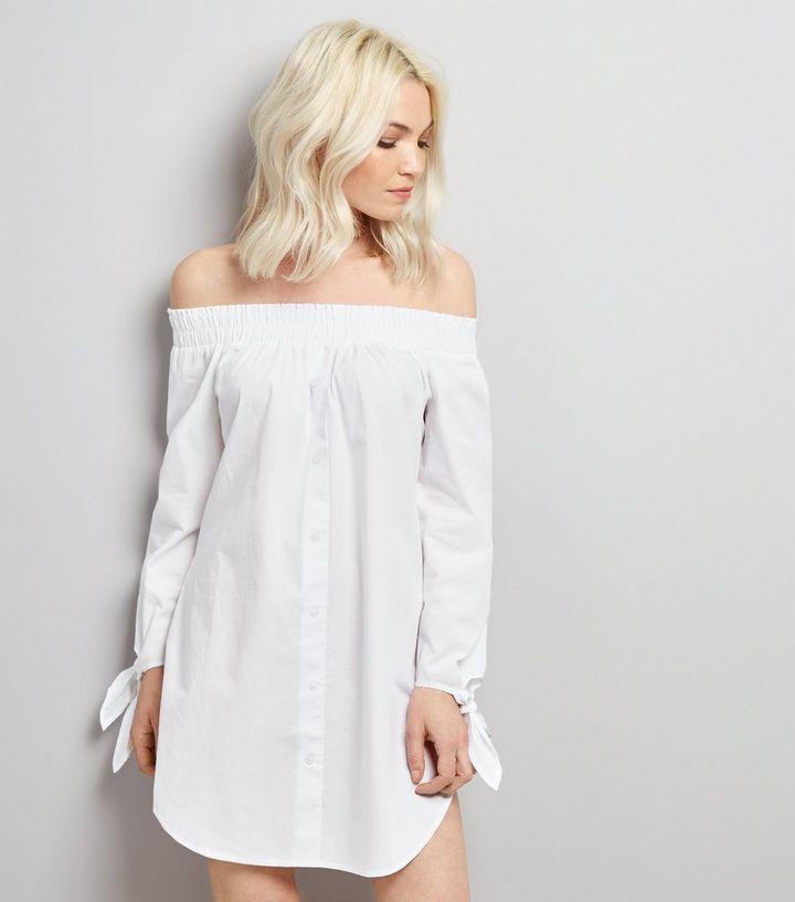8eec687f40c0 Petite White Shirred Bardot Neck Shirt Dress