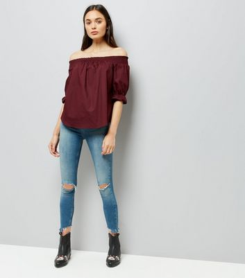 Burgundy Dip Hem Bardot Neck Top New Look
