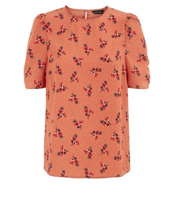 Orange Floral Print Puff Sleeve Top New Look