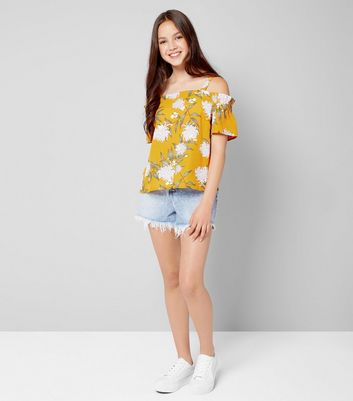 Teens Yellow Floral Print Cold Shoulder Top New Look