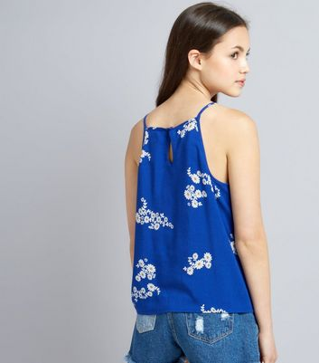 Teens Blue Daisy Print High Neck Cami Top New Look