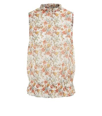 White Floral Shirred Waist Blouse New Look
