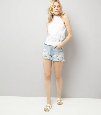 White High Neck Shirred Top New Look