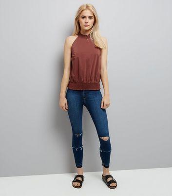 Light Brown High Neck Shirred Waist Top New Look