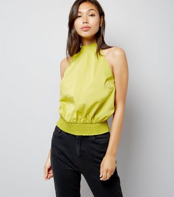 Lime Green High Neck Shirred Top New Look