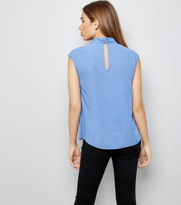 Blue Wrap Neck Sleeveless Top New Look