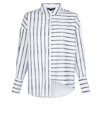 White Stripe Deconstructed Hem Shirt New Look