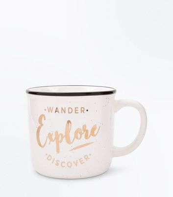 Cream 'Wander  Explore  Wonder' Slogan Speckled Mug New Look