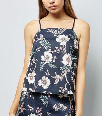 Blue Floral Print Pyjama Cami New Look