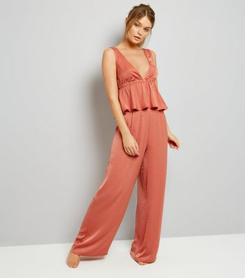 Pink Satin High Waist Trousers New Look