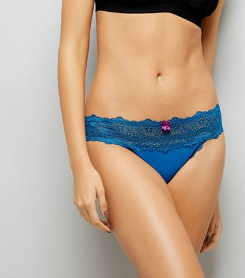 Petrol Blue Lace Thong New Look