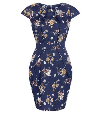 Blue Vanilla Navy Floral Print Tulip Dress New Look