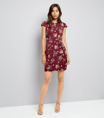 Blue Vanilla Burgundy Floral Print Tulip Dress New Look