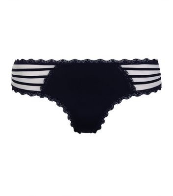 Navy Mesh Side Strappy Thong New Look