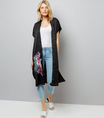 Black Embroidered Bird Longline Kimono New Look