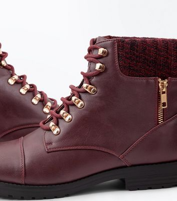 Burgundy Knit Cuff Lace Up Ankle Boots New Look