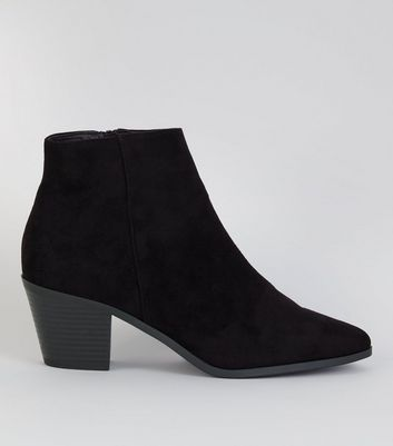 Black Suedette Western Ankle Boots