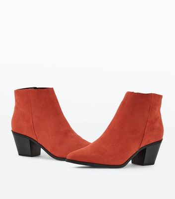 Red Suedette Western Ankle Boots New Look