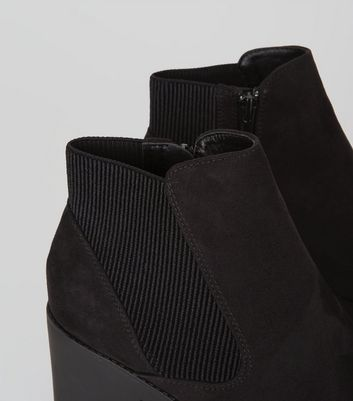 Black Suedette Chunky Chelsea Boots New Look