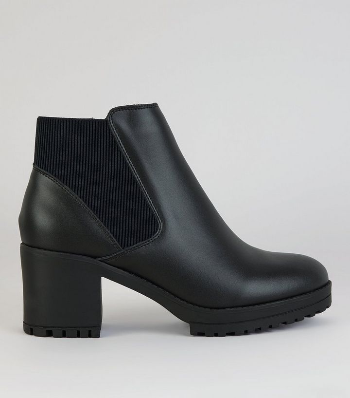 51cd7b4dcdc Black Leather Chunky Heel Boots Add to Saved Items Remove from Saved Items