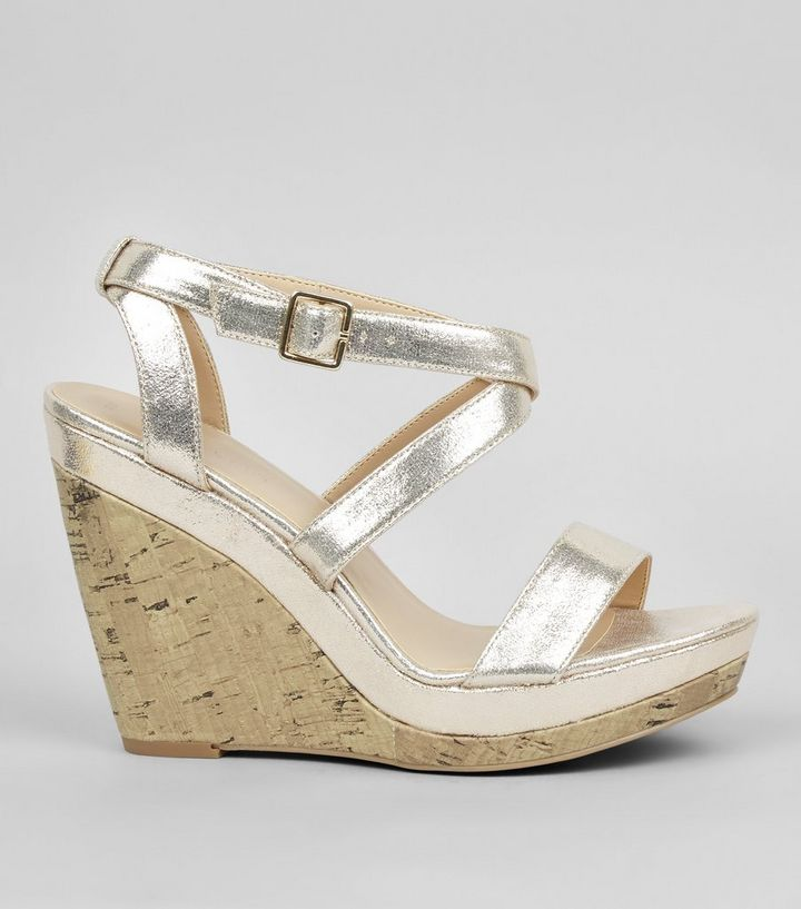accbef0b019 Gold Strappy Wedge Heels Add to Saved Items Remove from Saved Items