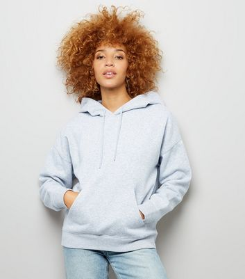 Grey Marl Oversized Hoodie New Look