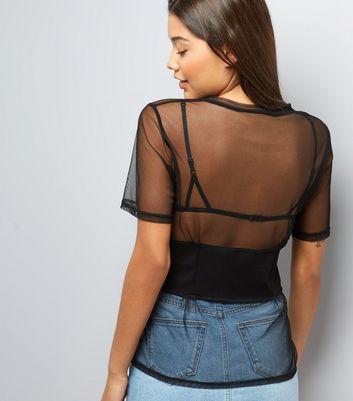 Black Mesh Corset Waist Boyfriend T-Shirt New Look