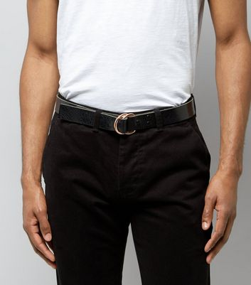 Black Leather D Ring Belt New Look